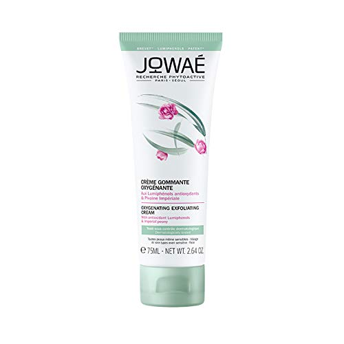 Jowaé Gommage Esfoliante Ossigenante Viso ai Lumifenoli Antiossidanti e Peonia Imperiale, Levigante, per Tutti i Tipi di Pelle, anche la più Sensibile, Formato da 75 ml