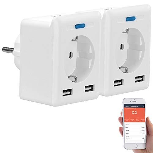 Luminea Home Control Zeitschaltuhr: 2er-Set WLAN-Steckdosen, 2 USB; App, komp. zu Alexa, Google, Siri (Steckdose W-LAN)
