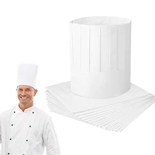 Matogle 20 Pcs Papier Chef Hut Einmalige Papier Kochmütze Weiße Kochhüte Verstellbare Koch Hüte zum Kochen Backen Papierkochmütze für Kochparty Restaurant Kochkurs Kantine