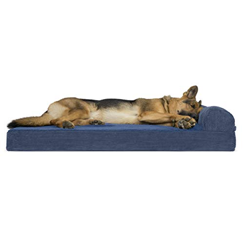 Furhaven Pet Dog Bed | Deluxe Orthopedic Faux Fleece & Corduroy Chaise Lounge Living Room Couch Pet Bed w/ Removable Cover for Dogs & Cats, Navy, Jumbo