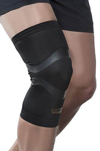 Copper Fit Pro Series Compression Knee Sleeve, Black with Copper Trim, Large, Packaging may Vary