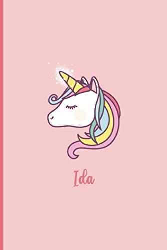 Ida: Personalisiertes A5-Notizbuch, Einhorn-Maskenhülle, Universal-Notizbuch mit Namen, 120 Seiten, Regel, Tagebuch, Kugeln, Ideenbuch, Schulheft, Einschulung, Weihnachts- und Geburtstagsgeschenk