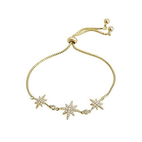 Yaunli Pulsera magnética de Las Mujeres Pulsera Estrella de la Suerte con el Desgaste Pulsera Pulsera for Todos los días de Elegante diseño Diamantes de la Mujer Pulsera de Cristal