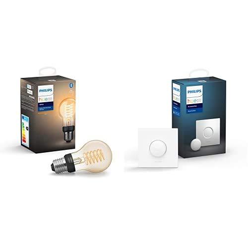 Philips Hue White Filament E27 LED Lampe, dimmbar, warmweißes Licht, steuerbar via App, kompatibel mit Amazon Alexa + Philips Hue Smart Button, komfortables Dimmen ohne Installation