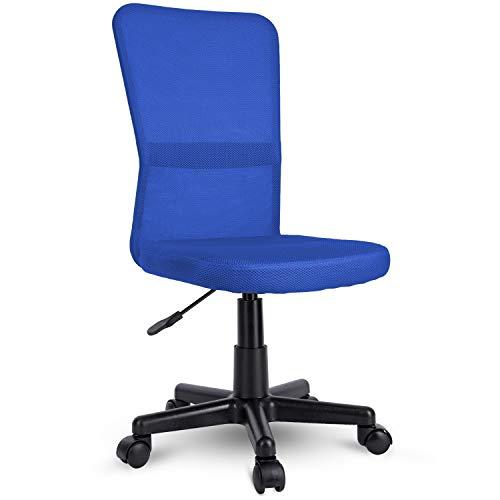 TRESKO Bürostuhl Schreibtischstuhl Drehstuhl, mit Kunststoff-Leichtlaufrollen, stufenlos höhenverstellbar, gepolsterte Sitzfläche, ergonomische Passform, Lift SGS-geprüft (Blau)