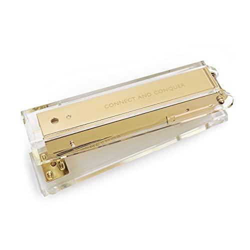 Gold Stapler for Desk - Cute Stapler for Office - Clear Acrylic Stapler - Desktop Designer Stapler - Elegant Desk Accessory, Trendy Novalty Stapler - Pretty Office Space - Lucite, Large Office Stapler