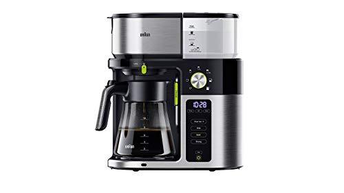 Braun MultiServe KF 9050 BK Kaffeemaschine - Filterkaffeemaschine mit Glaskanne, Direktwahl von 7 Portionsgrößen für bis zu 10 Tassen, Touch Display, Zeitschaltuhr, 1750 Watt, edelstahl/schwarz
