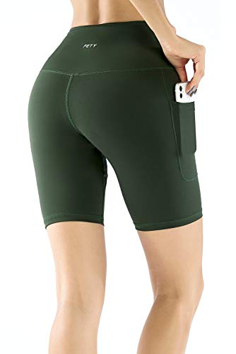 FETY Women's High Waist Athletic Leggings Yoga Shorts with Pockets, Tummy Control Workout 4 Way Stretch Pants