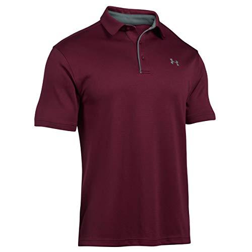 Under Armour Herren Tech atmungsaktives Poloshirt, komfortables und kurzärmliges Sportshirt mit loser Passform, Braun (Maroon/Graphite/Graphite (609), Large