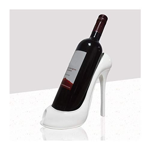 FLAIGO Estante de vino sin restricciones diseño creativo de zapatos de tacón alto, soportes de almacenamiento de vino de pie para bar, bodega, decoración de fiesta de boda (blanco)