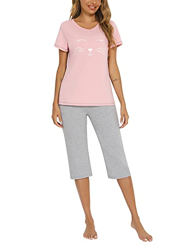Sykooria Pijamas Mujer Verano Corto 2 Piezas Pijamas Primavera Mujeres Ropa De Dormir Manga Corta Pantalones Largos Seda Rosa S