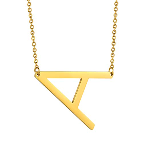 Sideways Initial A Necklace, Gold Large Letter Necklace for Women