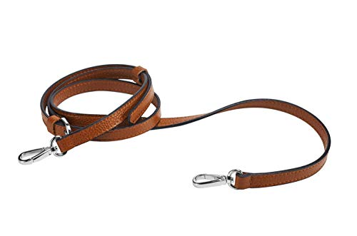 LIVE UP Full Grain Leather Adjustable Replacement Strap Cross Body Bag Purse, 43-51 Inch (Brown-Silver Buckles)