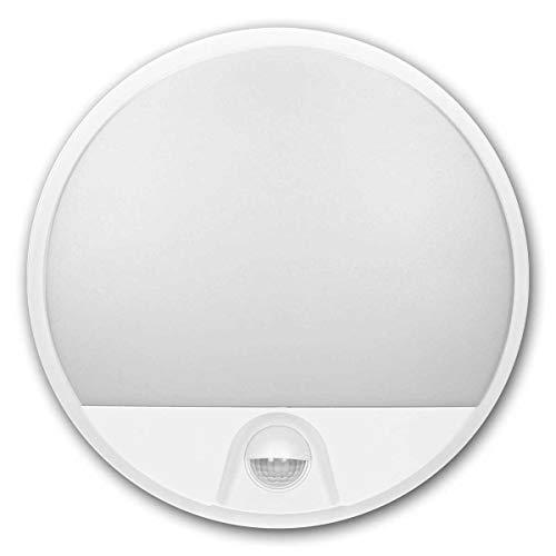 world-trading-net - Lámpara de entrada LED AGAT, blanca 230V/15W, para interior y exterior, sensor PIR