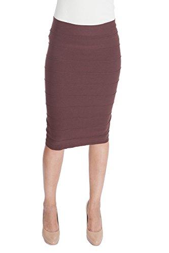 ESTEEZ Stretchy Pencil Skirt for Women Opaque Lightweight Slimfit Chocolate Small Medium