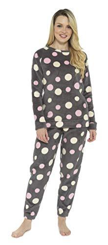 Pijamas para Damas de Mujer Damas Pijama de Pijama cálido cálido | pantalón de Franela o pantalón de Franela de Pijama Mujeres (XL, Manchas de Colores)