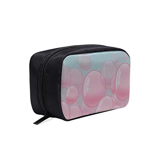 Sac de maquillage de voyage pour femmes Cute Dreamy Pink Bubble Red Lips Girl Makeup Bag Organizer Womans Sacs de toile Sac à outils pour femme Sac à cosmétiques Sacs Étui multifonctionnel Sac de toi