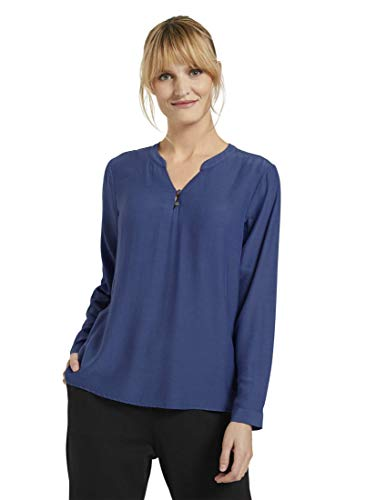 TOM TAILOR Damen Langarm Bluse, 12437-Deep Ultramarine Blue, 34