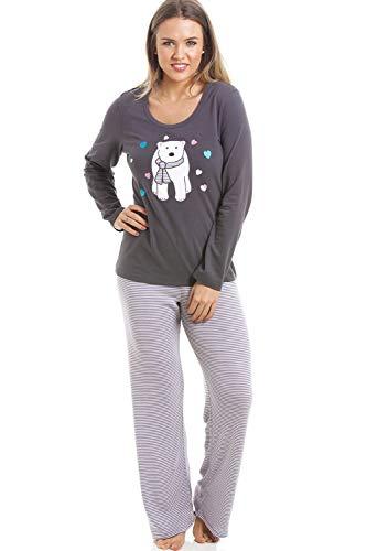 Camille Conjunto de Pijama de Oso Polar de Longitud Completa a Rayas Grises 42 Black
