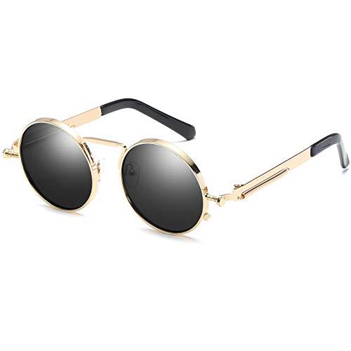 Kennifer Gafas de Sol Redondas Ronda Marco de Metal Eyewear Círculo Espejo Gafas UV400 Para Hombres y Mujeres (Gris,Dorado)