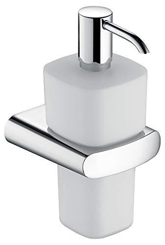 KEUCO Lotion-Spender Metall verchromt und Opal-Glas, Inhalt nachfüllbar ca. 220ml, für Flüssigseife für Bad und Gäste-WC, Wandmontage, Elegance