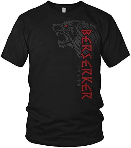 North - Berserker Bär Valhalla Vegvisir Wikinger Walhalla Vikings Raven nordischer Kompass - Herren T-Shirt und Männer Tshirt, Größe:XXL, Farbe:Schwarz/Rot