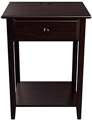 """Stony-Edge Night Stand End Accent Table, with USB Port. Espresso. 17"""""""
