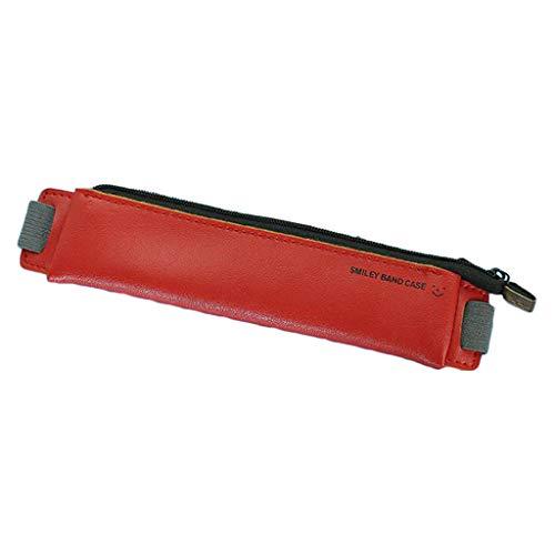 huihuay Federmäppchen/Federmäppchen aus PU-Leder mit elastischer Schnalle für Bücher, Notebook, Büro, Schule, Zubehör