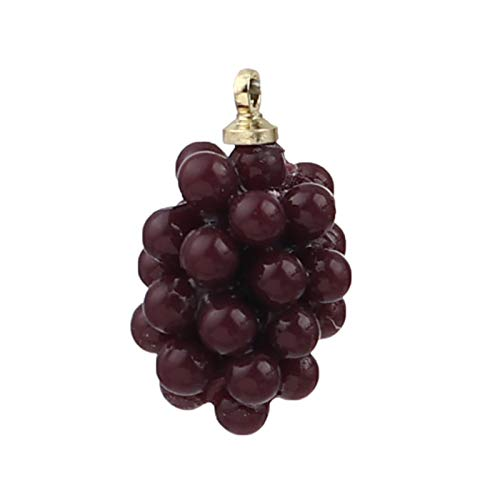 LIUL 5 Piezas Verde púrpura Resina Fruta UVA encantos aleación a Base de Zinc simulación Fruta UVA Colgantes Color Dorado