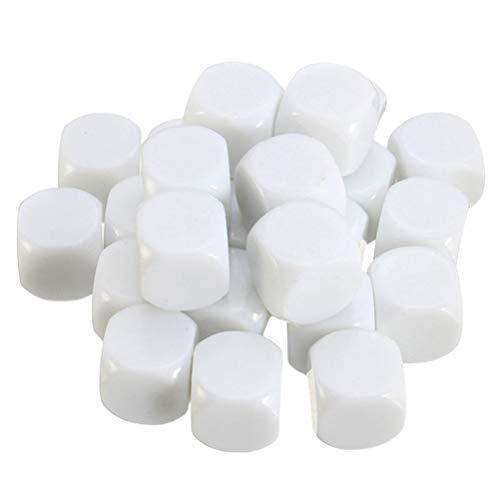 Toyvian Cubos de Dados en Blanco de Acrílico Blanco D6 Dados para Juegos de Mesa de Aula DIY Matemática Contando Enseñanza Fiesta Favoreciendo Bloques de Construcción Dados Personalizados 30Pcs 16Mm