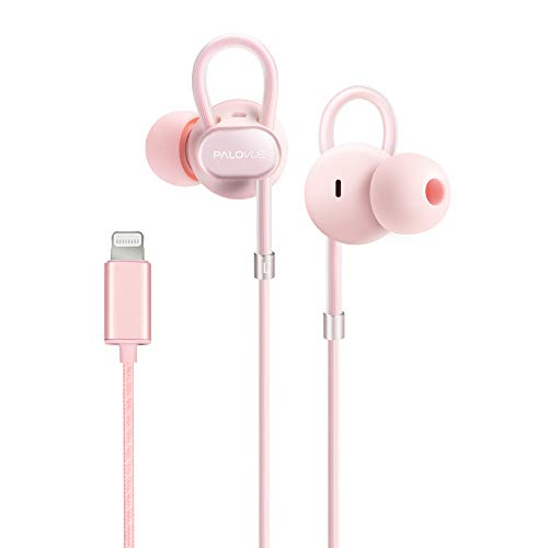 PALOVUE Lightning Headphones Earbuds Earphones with Microphone Controller MFi Certified Noise Isolation Compatible iPhone 11 Pro Max iPhone X/XS Max/XR iPhone 8/P iPhone 7/P NeoFlowColor (Pink)