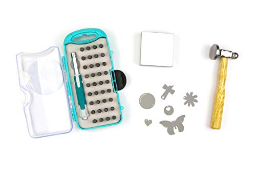 Cousin DIY Stamp & Go Metal Stamping Tool Kit Set with Hammer, Charms, Block and Bits, Multi