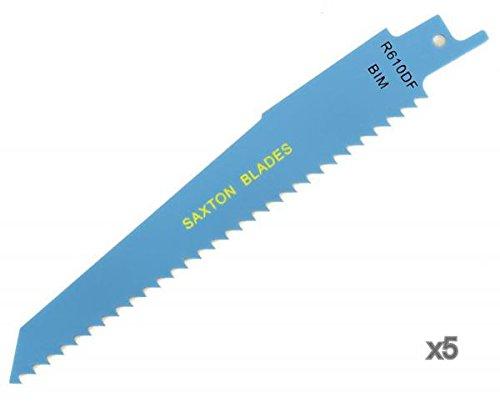 5 x decoupeerzaag-/afbreekzaagbladen R610DF van Saxton voor hout en metaal, geschikt voor Bosch Dewalt Makita
