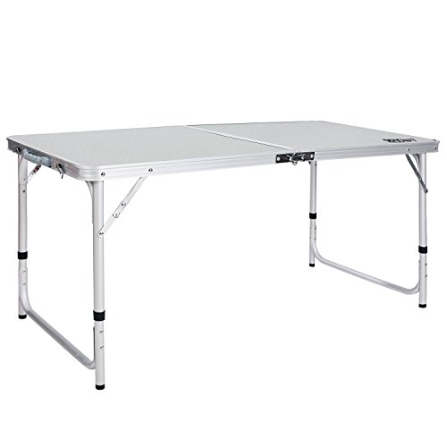 REDCAMP Aluminum Folding Table 4 Foot, Portable and Adjustable White