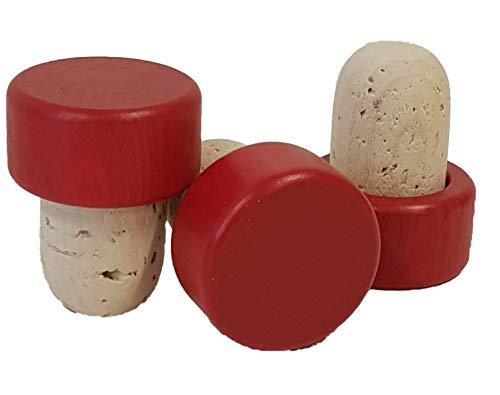 50 Griffkorken, Griff aus Holz - Stopfen Durchmesser 19 mm, Korken, Holzgriff in verschiedenen Farben (rot)