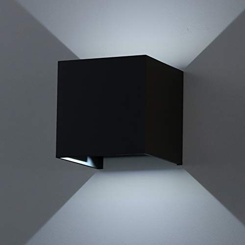 Badezimmer 7W Led Wandleuchten Modern Schwarz Schlafzimmer 2 St/ücke Aluminium Wandleuchte Up Down Innen 3000K Warmwei/ß Wandbeleuchtung Perfekt f/ür Wohnzimmer Treppen