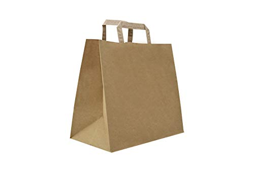 Carte Dozio S.r.l. Shopper in Kraft con fondo quadro, color Avana, maniglia piatta, f.to cm 32+22x34, cf 250 pz
