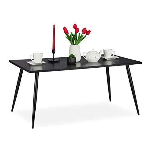 Relaxdays salontafel, metalen poten, rechthoekig, opbergruimte in de woonkamer slaapkamer, bijzettafel in 45 x 100 x 55 cm, zwart
