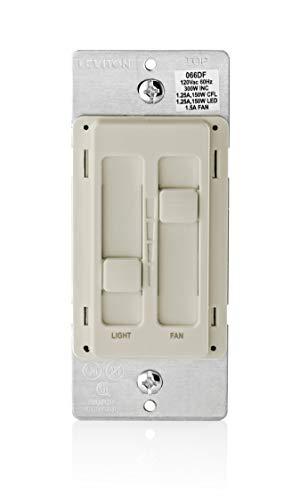 Leviton 66DF-10T SureSlide Dual Quiet Control for 150W LED, 300W Incandescent/Halogen, 1.5 Amp Fan, 120V, Light Almond