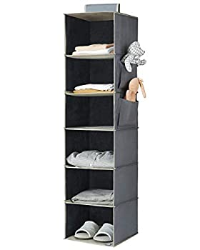 YOUDENOVA Hanging Closet Organizer 6-Shelf Closet Hanging Storage Shelves Grey