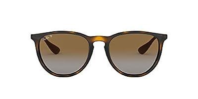Ray-Ban RB4171 Erika Round Sunglasses, Havana/Polarized Brown Gradient, 54 mm