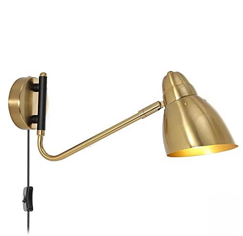 Lámpara De Pared Vintage Lámpara De Pared De Metal Dorado Lámpara De Cabecera Con Enchufe Y Cable De 1,8 M Lámpara De Cama Lámparas De Lectura De Pared, Lámpara De Lectura Interior E27 Para Dormitorio