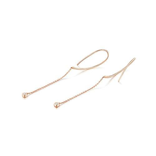 'Mit dir an meiner Seite' - KnSam 18K Gold Durchzieher für Damen mit Diamant 0,06 Karat, Ohrringe Set Geschenk für Mutter Freundin, Rosegold [ Fine Echtschmuck ]
