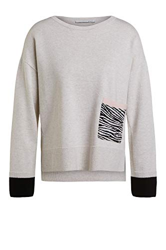Oui Damen Pullover mit Zebratasche lässig geschnitten Uni Frühlingsmode