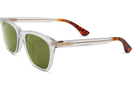 TOMS Fitzpatrick Wayfarer Sunglasses, Vintage Crystal/Bottle Green, 52-19-151