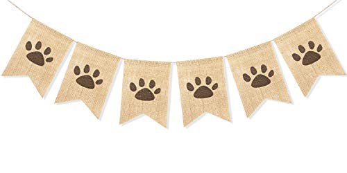 Uniwish Dog Paw Print Banner Puppy Animal Theme Birthday Party Decorations, Rustic Burlap Bunting Pet Party Supplies Garland Photo Props