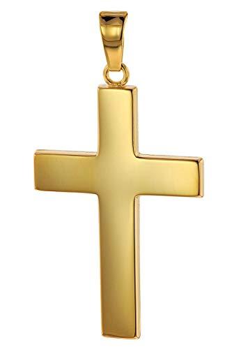 trendor Kreuz-Anhänger Gold 750 (18 Karat) 27 x 19 mm Herren Goldanhänger, modischer Kreuzanhänger, Geschenkidee, eleganter Schmuck aus Echtgold 75117