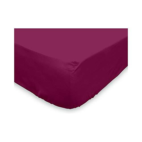 Soleil d'Ocre Drap Housse coton 57 Fils Violet 160 x 200 cm