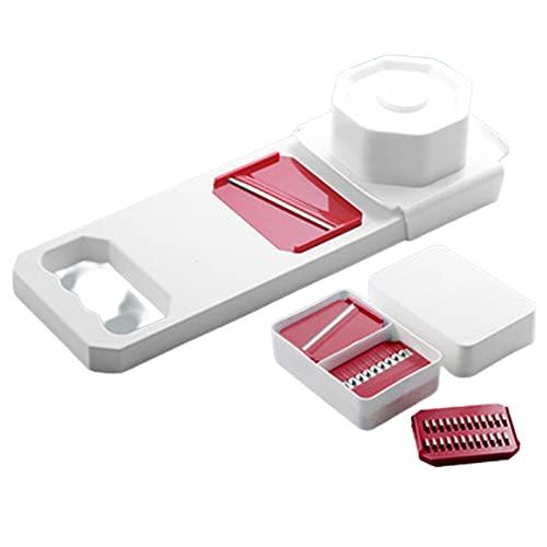 XIGU Mandoline Slicer Food Choppers,Multi-funcional cortador de verduras cortador de Dicer Cutter herramienta de rebanar, hogar cocina duradera eficiente hoja antideslizante rojo afilado
