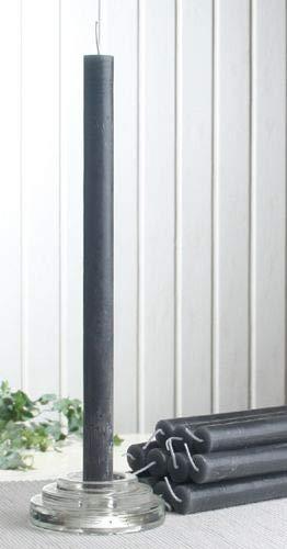CandleCorner Rustik-Stabkerzen, 12er-Pack, ca. 30 x 2,1 cm, anthrazit-schwarz